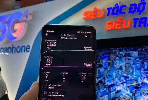 Kết quả đo điểm tốc độ 5G VinaPhone tại TP Hồ Chí Minh