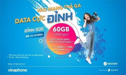 gói vinaphone trả sau 2Gb/ngày đỉnh 60Gb D60G
