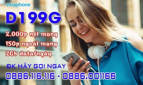 gói d199g vinaphone trả sau tích hợp data 2Gb/ngày + thoại ngoài mạng 100 phút/tháng giá rẻ