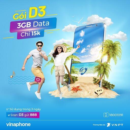 Gói cước D3 của VinaPhone Data 3G/4G theo ngày