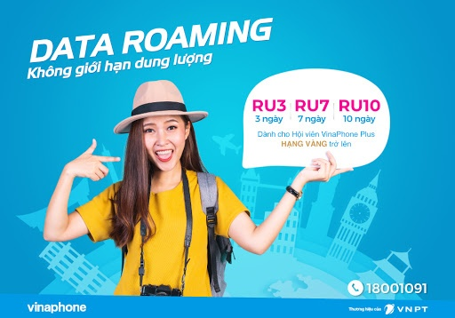 Gói chuyển vùng quốc tế Vinaphone dung lượng không giới hạn RU3, RU7, RU10