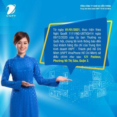 TTKD VNPT TP Hồ Chí Minh thông báo điều chỉnh địa chỉ