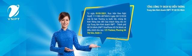 VNPT VinaPhone TP.HCM thông báo điều chỉnh địa chỉ