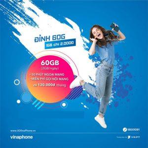 Gói 4G Vinaphone D60G đỉnh 60G data 2gb/ngày