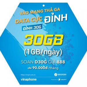Gói 4G Vinaphone không giới hạn Đỉnh 30G D30G