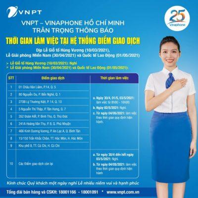ĐGD VNPT Vinaphone HCM làm việc ngày lễ 10-3, 30-4, 1-5-2021