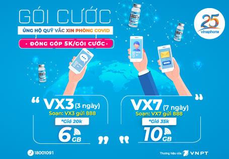 Gói cước VX3, VX7 Vinaphone data giá rẻ
